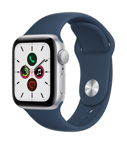 Apple watch se gps 40mm silver aluminum abyss blue sport band 34fr screen  usen
