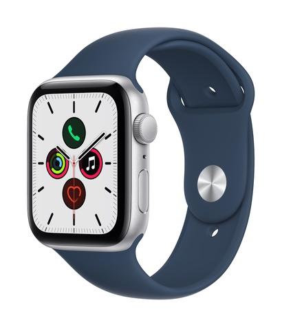 Apple watch se gps 44mm silver aluminum abyss blue sport band 34fr screen  usen
