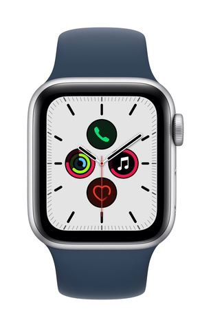 Apple watch se gps 40mm silver aluminum abyss blue sport band pure front screen  usen