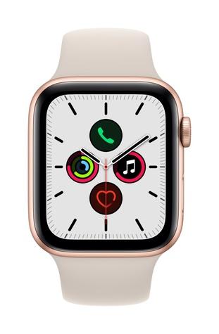 Apple watch se gps 44mm gold aluminum starlight sport band pure front screen  usen