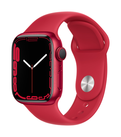Apple watch series 7 gps 41mm product red aluminum product red sport band 34fr screen  usen