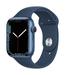 Apple watch series 7 gps 45mm blue aluminum abyss blue sport band 34fr screen  usen