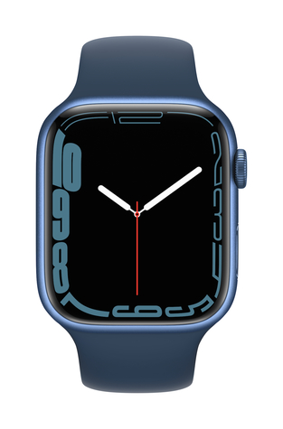 Apple watch series 7 gps 45mm blue aluminum abyss blue sport band pure front screen  usen