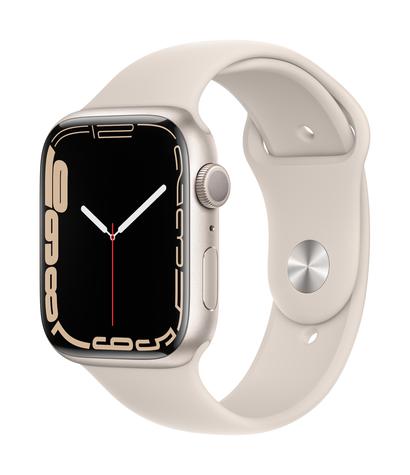 Apple watch series 7 gps 45mm starlight aluminum starlight sport band 34fr screen  usen