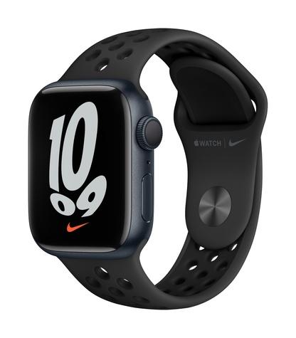 Apple watch nike series 7 gps 41mm midnight aluminum anthracite black sport band 34fr screen  usen