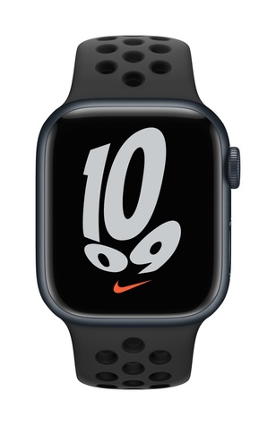 Apple watch nike series 7 gps 41mm midnight aluminum anthracite black sport band pure front screen  usen
