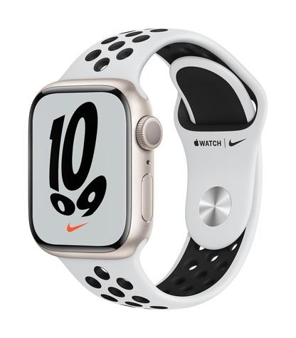 Apple watch nike series 7 gps 41mm starlight aluminum pure platinum black sport band 34fr screen  usen