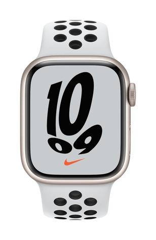 Apple watch nike series 7 gps 41mm starlight aluminum pure platinum black sport band pure front screen  usen