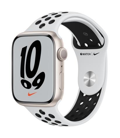 Apple watch nike series 7 gps 45mm starlight aluminum pure platinum black sport band 34fr screen  usen