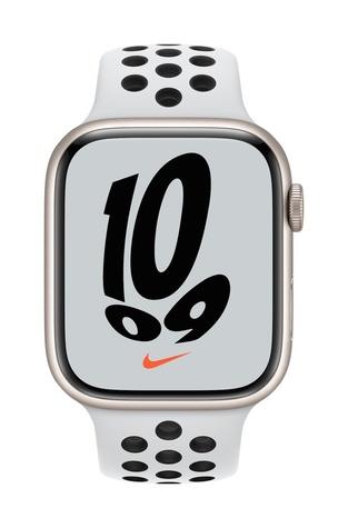 Apple watch nike series 7 gps 45mm starlight aluminum pure platinum black sport band pure front screen  usen